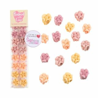Baked with Love Sugar Pipings LOVE ROSE PINK OMBRE Pack of 16