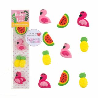 Baked with Love Sugar Pipings TROPICAL FLAMINGO Pack of 10
