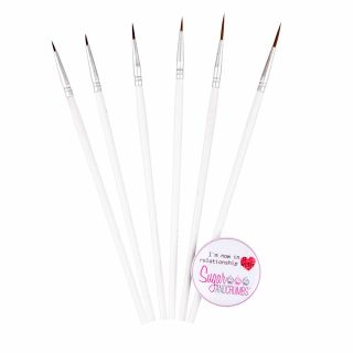 Brushes Assorted White Set of 6