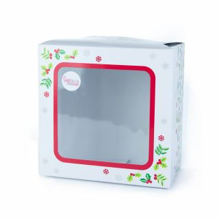 Cake Box Square With Window CHRISTMAS HOLLY 08 Inch