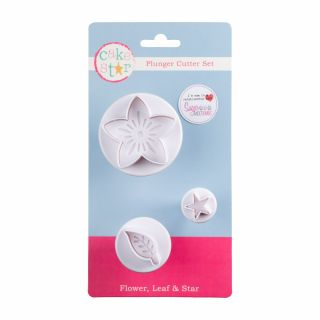 Cake Star Plunger Cutters Flower, Leaf and Star Set of 3