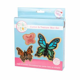 Cake Star Texture Mat and Cutter Set BUTTERFLY