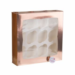 Cupcake Window Box ROSE GOLD Fits 12
