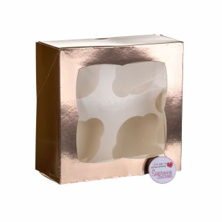 Cupcake Window Box ROSE GOLD Fits 4