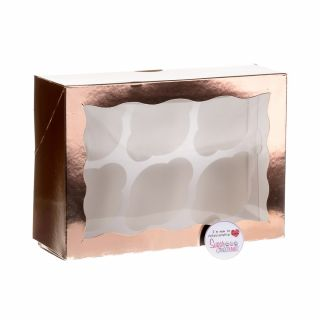 Cupcake Window Box ROSE GOLD Fits 6