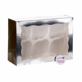 Cupcake Window Box SILVER Fits 6