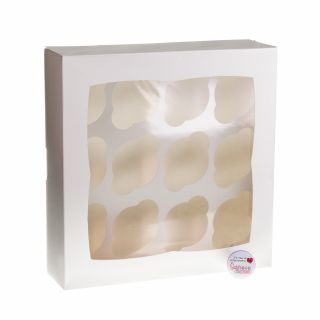 Cupcake Window Box Luxury WHITE Square Style Fits 12