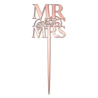 Katy Sue Cake Topper Elegant Mirror Rose Gold Mr and Mrs