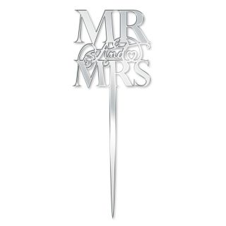 Katy Sue Cake Topper Elegant Mirror Silver Mr and Mrs