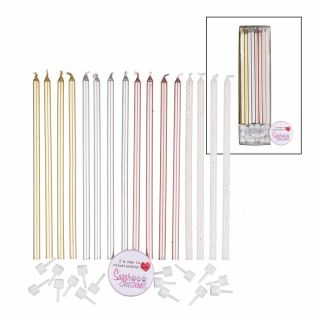 Extra Tall Candles GOLD White Holders 14cm Pack of 16