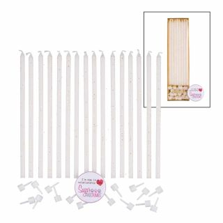 Extra Tall Candles WHITE Glitter White Holders 14cm Pack of 16