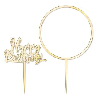Katy Sue Cake Topper Elegant Mirror Gold Happy Birthday and Flower Hoop Set