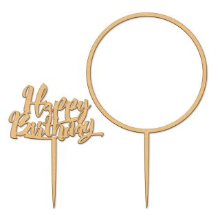 Katy Sue Cake Topper Wooden Happy Birthday and Flower Hoop Set