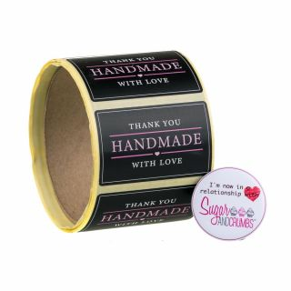 Labels BLACK Oblong Thank You Handmade with Love Sticker Roll of 100