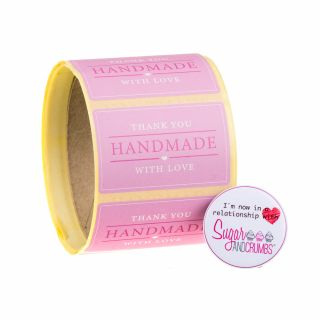 Labels PINK Oblong HANDMADE WITH LOVE Sticker Roll of 100