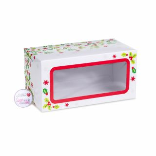 Cake Box Log With Window CHRISTMAS HOLLY 08 Inch
