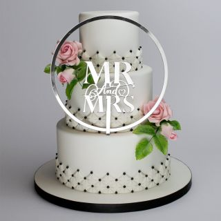 Katy Sue Cake Topper Elegant Mirror Silver Mr and Mrs and Flower Hoop Set