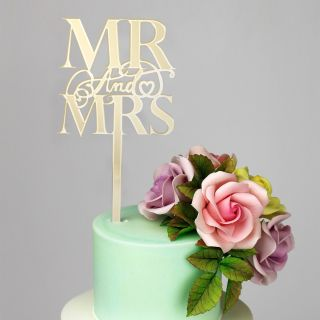 Katy Sue Cake Topper Elegant Mirror Gold Mr and Mrs