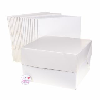 Cake Box With Lid WHITE 08 Inch Pack of 10