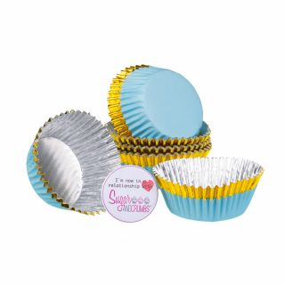 PME Cupcake Cases Foil Lined BLUE With GOLD Trim Pack of 30