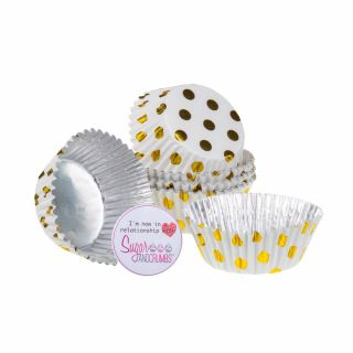 PME Cupcake Cases Foil Lined GOLD POLKA DOT Pack of 30