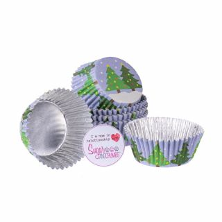PME Cupcake Cases Foil Lined CHRISTMAS TREES Pack of 30