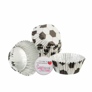 PME Cupcake Cases Foil Lined FOOTBALL Pack of 30
