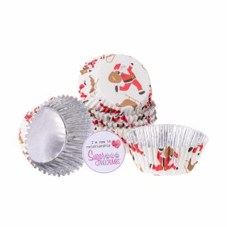 PME Cupcake Cases Foil Lined SANTA and SLEIGH Pack of 30