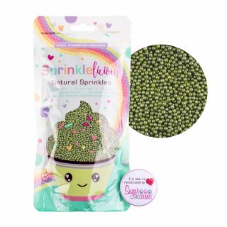 Sprinklelicious Micro Pearls Pearlised GREEN 100G