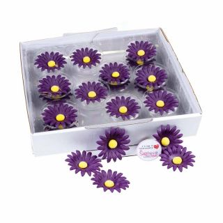 SugarSoft 20 Edible Assorted Lilac Daisies 50mm