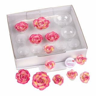 SugarSoft 12 Edible Assorted Marbled Pink and Gold Roses