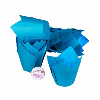 Tulip Muffin Wraps BLUE Pack of 50