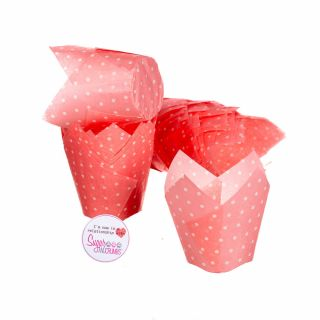 Tulip Muffin Wraps PINK POLKA DOT Pack of 50