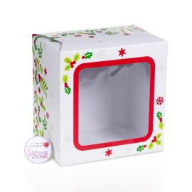 Cake Box Square With Window CHRISTMAS HOLLY 06 Inch