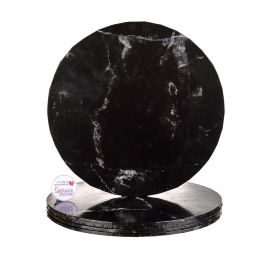 Cake Board Round BLACK MARBLE Masonite 10 Inch