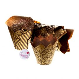Tulip Muffin Wraps CHOCOLATE AND GOLD Pack of 50